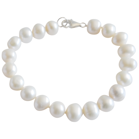White Side-Drilled Potato Freshwater Pearl Bracelet - Pearly Pearl - 1