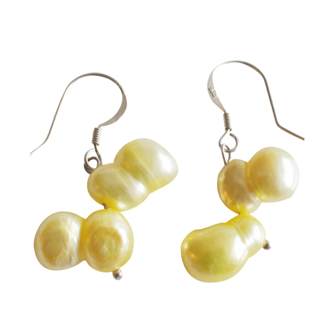 Yellow Peanut Dangling Pearl Earrings - Pearly Pearl - 1