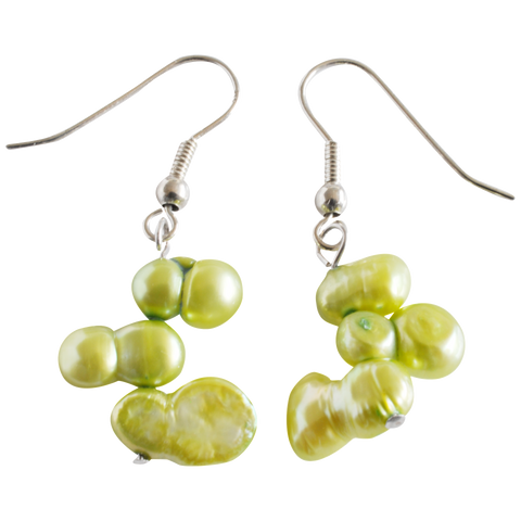 Green Peanut Dangling Pearl Earrings - Pearly Pearl - 1