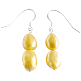 Gold Nugget Dangling Pearl Earrings - Pearly Pearl - 1