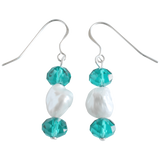 White Nugget & Crystal Dangling Pearl Earrings - Pearly Pearl - 1