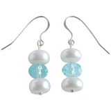 White Button & Crystal Dangling Pearl Earrings - Pearly Pearl - 1