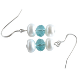 White Button & Crystal Dangling Pearl Earrings - Pearly Pearl - 2