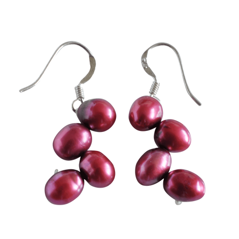Red Firecracker Dangling Pearl Earrings - Pearly Pearl - 1