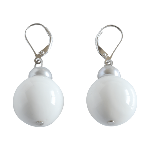 Grey Button & White Bead Dangling Pearl Earrings - Pearly Pearl - 1