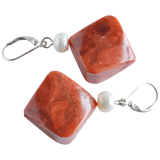 White Button & Coral Bead Dangling Pearl Earrings - Pearly Pearl - 2
