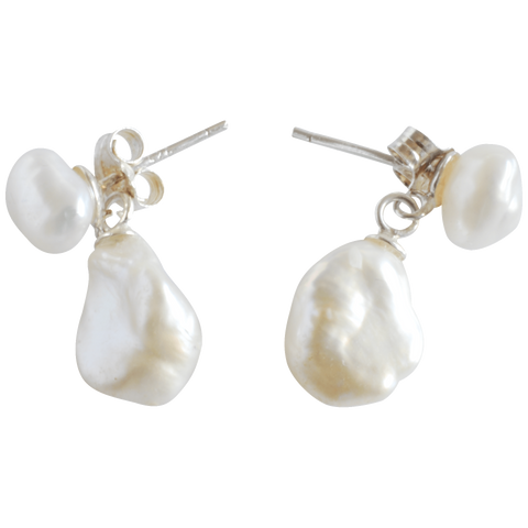 White Nugget Drop Pearl Earrings - Pearly Pearl - 1