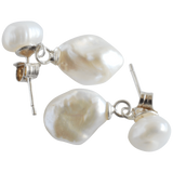 White Nugget Drop Pearl Earrings - Pearly Pearl - 2