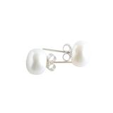 White Button Pearl Studs - Pearly Pearl - 1