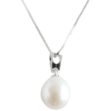 White Potato Pendant on Sterling Silver Chain - Pearly Pearl - 1