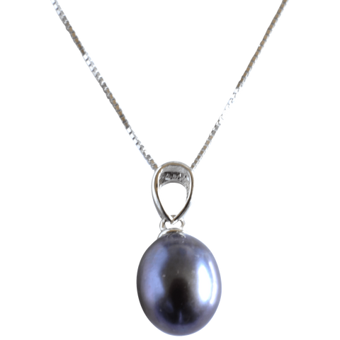 Black Potato Pendant on Sterling Silver Chain - Pearly Pearl - 1