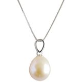 Peach Potato Pendant on Sterling Silver Chain - Pearly Pearl - 1
