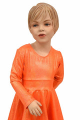 Girls Orange Sparkly Skater Dress - Coquetry Clothing