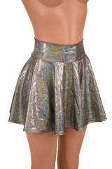 Silver Holographic Rave Mini Skirt - Coquetry Clothing