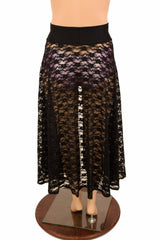 Lace Up Front Skirt in Black Floral Lace - Coquetry Clothing
