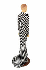 Black & White Checkered Gown - Coquetry Clothing