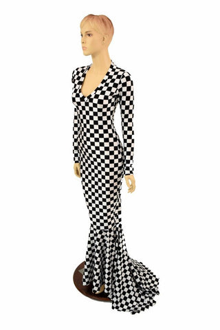 617ac6ff657 Black   White Checkered Gown – Coquetry Clothing