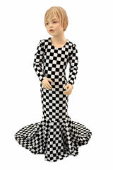 Girls Black & White Check Gown - Coquetry Clothing