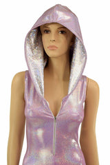 Lilac Holographic Zipper Hoodie Catsuit - Coquetry Clothing