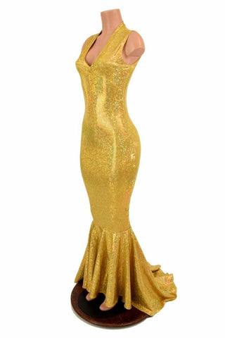 Gold Shattered Glass V Neck Gown - Coquetry Clothing