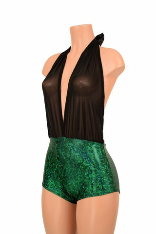 """Josie"" Romper in Green Holographic - Coquetry Clothing"