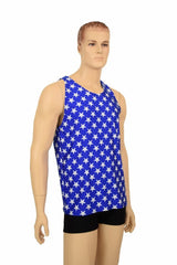 Mens Blue & White Muscle Shirt - Coquetry Clothing