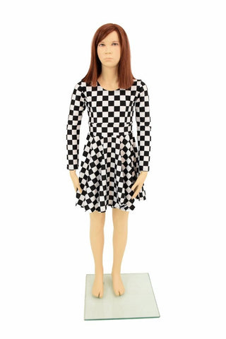 Girls Black & White Skater Dress - Coquetry Clothing