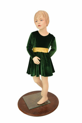 Girls Green & Gold Skater Dress - Coquetry Clothing