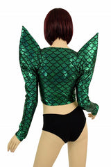 Green Dragon Mega Sharp Shoulder Crop - Coquetry Clothing