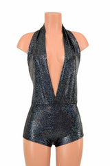 """Josie"" Romper in Black Shattered Glass - Coquetry Clothing"