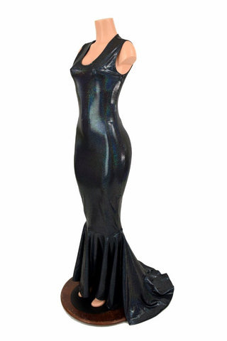 Black Holographic Puddle Train Gown Coquetry Clothing