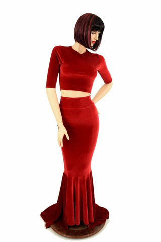 Red Velvet Skirt & Crop Set - Coquetry Clothing