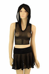 "Mesh Hoodie & 15"" Skirt Set - Coquetry Clothing"