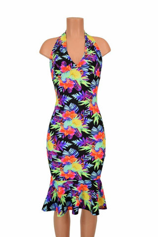 Sonic Bloom Ruffled Halter Wiggle Dress - Coquetry Clothing