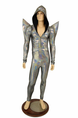 Mens Silver Mega Shoulder Catsuit - Coquetry Clothing