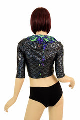 Half Sleeve Dragon Zipper Front Crop Top - Coquetry Clothing