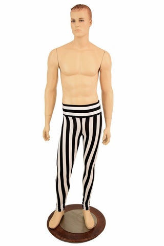Mens Leggings in Black & White Stripe - Coquetry Clothing