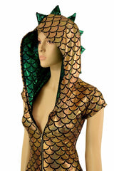 Gold & Green Zipper Front Catsuit - Coquetry Clothing