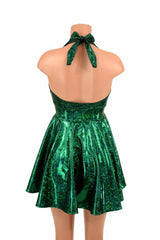 Green Shattered Glass Halter Skater Dress - Coquetry Clothing