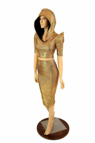 Gold Dragon Spiked Crop & Skirt Set - Coquetry Clothing