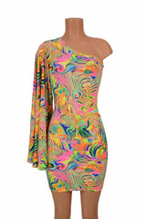 One Shoulder Fan Sleeve Dress - Coquetry Clothing