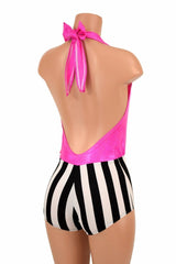 """Josie"" Romper in Pink Sparkly Jewel & Striped - Coquetry Clothing"