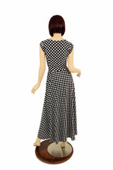 "Maxi Length ""Melissa"" Gown in Polka Dot - Coquetry Clothing"