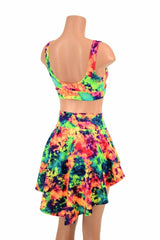 3PC UV GLOW Rave Skirt, Shorts & Bralette Set - Coquetry Clothing