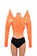 Orange Mega Sharp Shoulder Crop - Coquetry Clothing