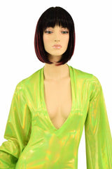 Lime Plunging V Bell Sleeve Romper - Coquetry Clothing