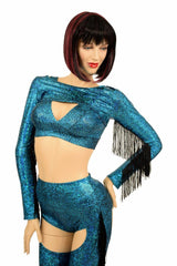 4PC Turquoise Fringe Bolero and Chaps Set - Coquetry Clothing