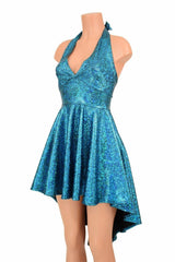 Turquoise Shattered Glass Skater Dress - Coquetry Clothing