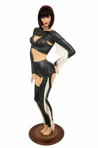 4PC Black Shattered Glass Fringe Bolero and Chaps Set - Coquetry Clothing