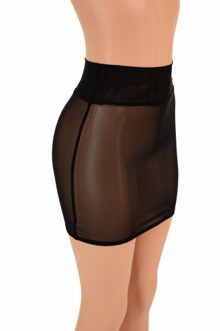 Black Mesh Bodycon Skirt - Coquetry Clothing